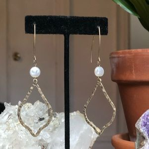 Gold and faux pearl earrings